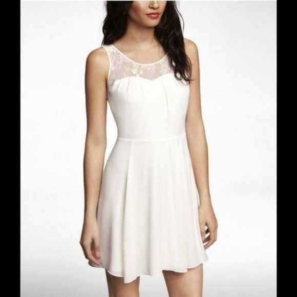 Express Dresses & Skirts - Express Mixed Media Fit & Flare Dress 8